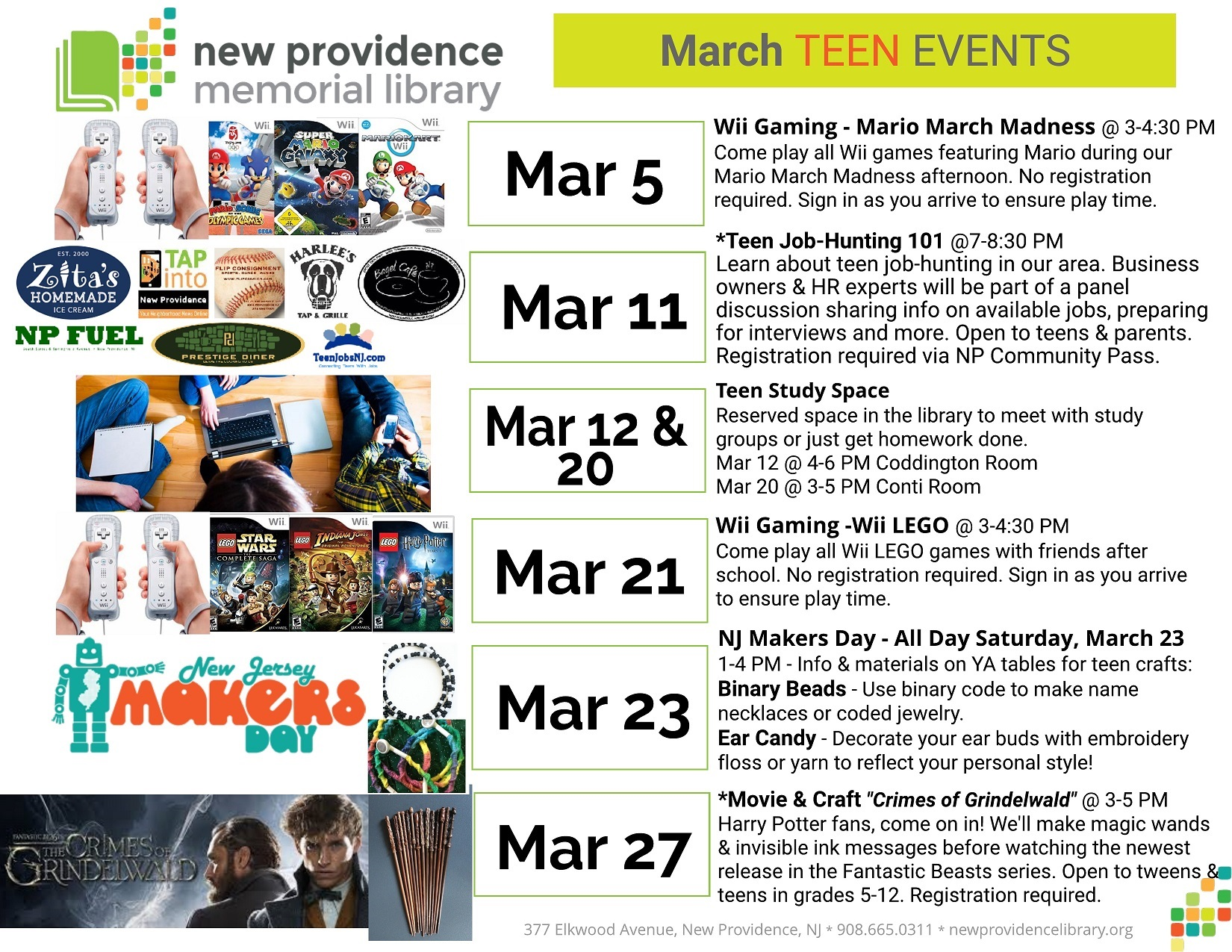 March Library Events for TEENS small2